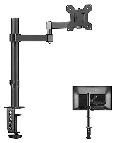 TabloKanvas Soporte de TV único totalmente ajustable para monitor de pantalla de ordenador de 13 a 32 pulgadas (color negro)