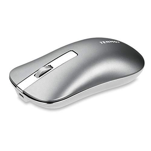Coener T5 Mouse Senza Fili, Wireless Ricaricabile Mouse per Tablet 1600DPI Mouse USB Portatile Compatibile con PC Mac Laptop Notebook(Argento)