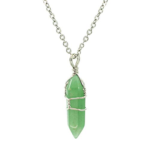 Hand Wired Natural Aventurine Crystal Healing Point Chakra Pendant Necklace
