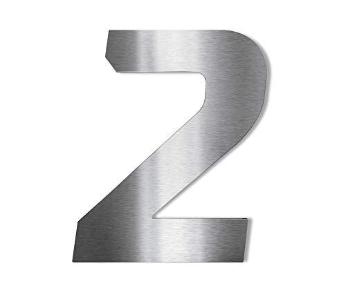 Metzler Hochwertige Edelstahl V2A Hausnummer - Fett Kursiv grob geschliffen - wählbares Montagematerial - Höhe: 20 cm - Materialstärke: 2 mm - Ziffer 2