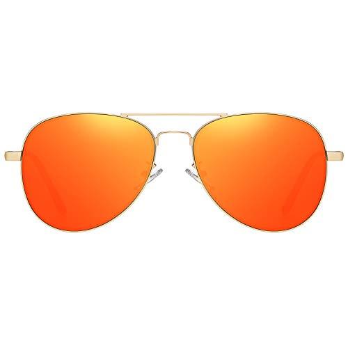 H HELMUT JUST Gafas de Sol Aviador para Hombre Mujer Espejo para Viajes UV400 Sin Polarizar Piloto HJ1304