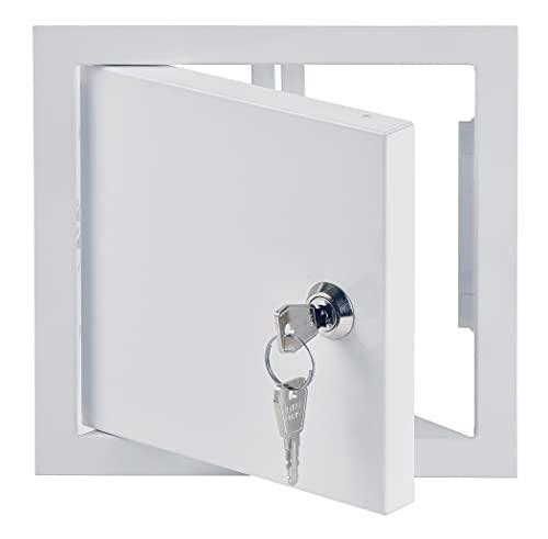 15x15 cm Revisionsklappe mit Schloss - Stahl verzinkt - Weiß - Abschließbar - Revisionstür Revisionsschacht Wartungsklappe (150x150 mm)