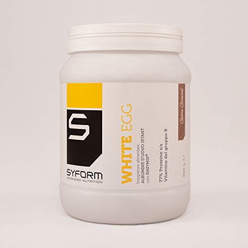 SYFORM WHITE EGG PROTEIN Gusto CREME CARAMEL 450 Gr. Proteine in polvere dell'albume d'uovo, lactose free, gluten free ovoalbumine che migliorano elasticità, tono e vigore muscolare