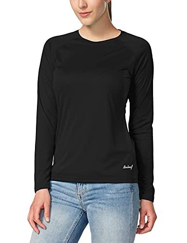 BALEAF Women's Long Sleeve Shirts UPF 50+ Sun Protection SPF Quick Dry Lightweight T-Shirt Outdoor Hiking Runing Fishing Black Size M