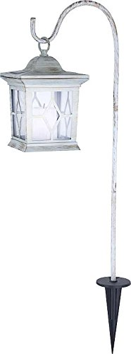 LED Solarlampe Erdspieß Laterne Solar Außenleuchte Grabbeleuchtung Grablicht (Gartenlampe, Solarleuchte, Gartenleuchte, Außenlampe, Höhe 68 cm, Weiß)