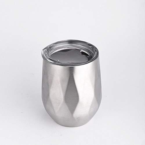 Vakuum Weinglas Edelstahl Double-Layer-Vakuum-Cup heiße Art und Weise Eggshell Cup Kaltes Weinglas Big Belly Cup Vakuumisolierte Trinkbecher (Farbe : Silver, Size : 120ml)