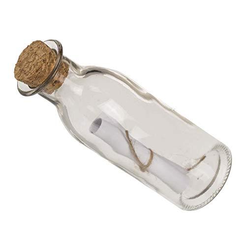 Unbekannt Glasflasche mit Korkstopfen und Papierröllchen zum selbst beschriften, Maße: 14 x 5 x 5 cm, perfekt für eine Nette Nachricht/kleines Geschenk, Flaschenpost als kleines Geschenk