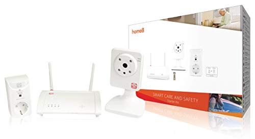 Home8 Smart Home Sicherheitssystem Überwachungssystem Alarmanlage / Basisstation + Schalter-Steckdose + drahtlose WLAN Wifi Video-Kamera + 16 GB USB-Stick / mit Home8 App steuerbar und überwachbar