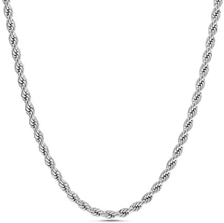 Nautica 2mm – 8mm Rope Chain Necklace for Men or Women in Rhodium Plated Brass