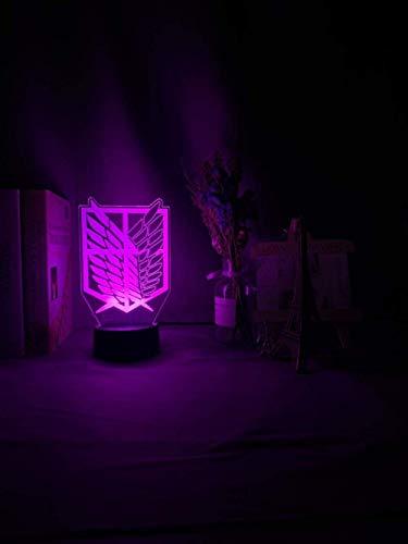 Luz de noche LED de ilusión 3D Wings of Liberty 7 colores que cambian la luz de noche para la decoración de la habitación de los niños ataque de luz de mesa en &;revestimiento de titanio;Virginia