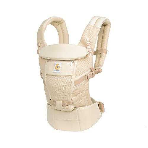Ergobaby Adapt Babytrage für Neugeborene ab Geburt, 3-Positionen Cool Air Mesh Babybauchtrage Rückentrage, Natural Weave