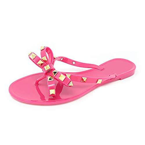 MARLU Womens Studded Jelly Flip Flops Sandalen Mit Schleife, Geburtstagsgeschenke für Frauen, Größe 35-40,Rose red,38