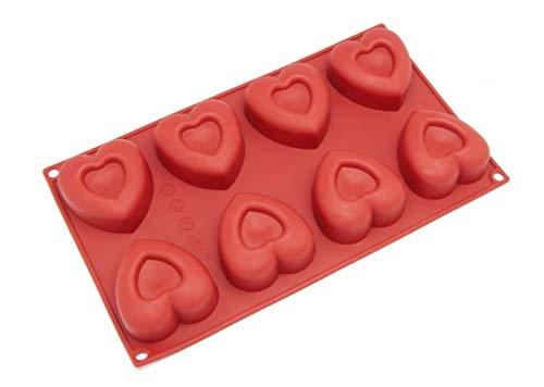 ZXL@ED 8 Cavidades Molde de Silicona en Forma de Corazón Y Molde para Hornear la Fda Aprueba Lfgb Professional Silicone Chocolate Papas Fritas Molde de Caramelo Antiadherente Reutiliz