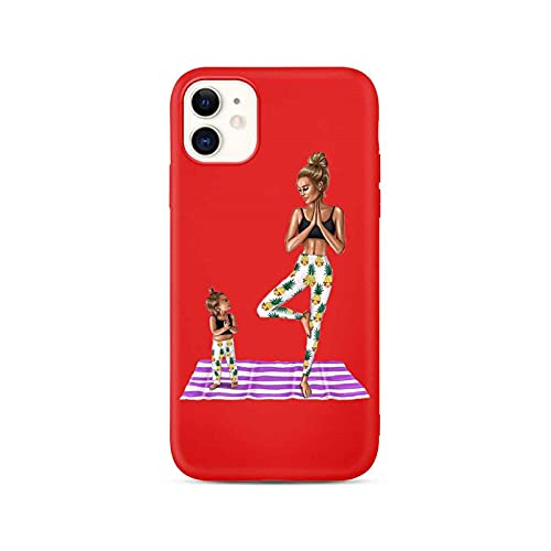 Hot mom Baby Mouse Mama Mouse Girl Family Soft Phone Case para iPhone 8 12 11 Pro Max X XS Max XR 7 6s 8 Plus 6 SE 2020 Cubierta roja TPU-para 7Plus u 8Plus