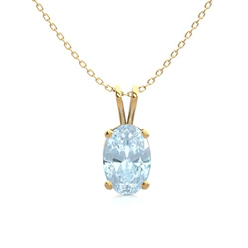 Aquamarine Necklace For Women In Sterling Silver, Yellow Gold Over Sterling Silver and Rose Gold Over Sterling Silver, 1/2 Carat