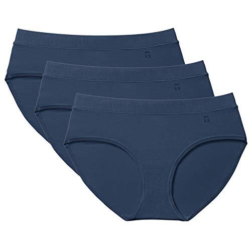 Tommy John Women's Second Skin Briefs - 3 Pack - Comfortable Breathable Underwear for Women (Dress Blues, Medium)