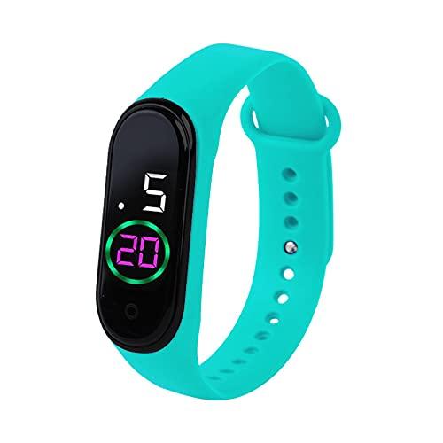Reloj Niño Yuan Ou Reloj para niños Reloj Digital LED Resistente al Agua Correa de Silicona Ultraligera Reloj de Pulsera para niños Adolescentes Unisex Verde Menta-LVM4