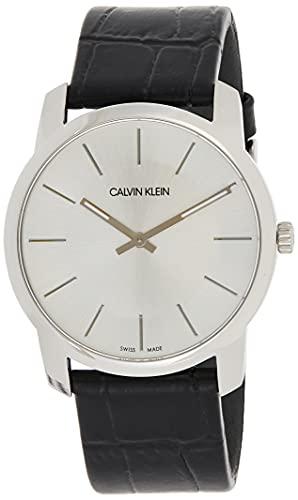 Calvin Klein Unisex Erwachsene Analog-Digital Quarz Uhr mit Leder Armband K2G221C6
