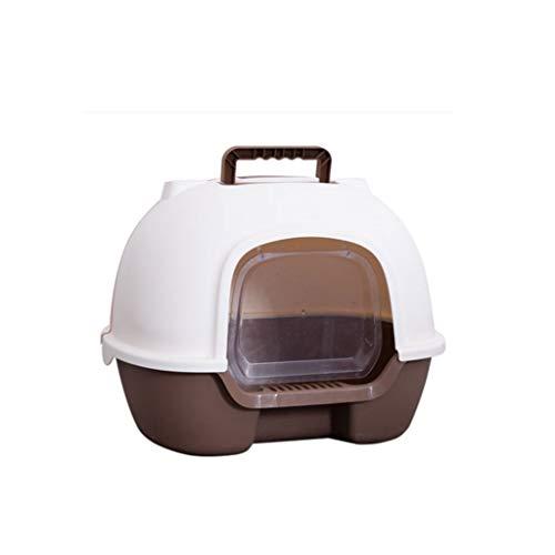GZQDX Haustierschüssel, Jumbo-Katzenklo mit Kapuze, komplett geschlossene Toilette, Spritzschutz, Deodorant, robust braun