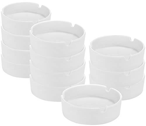 com-four® 12x cenicero de cerámica en un diseño Simple, cenicero de cerámica para Uso Privado y gastronómico (12 Piezas)