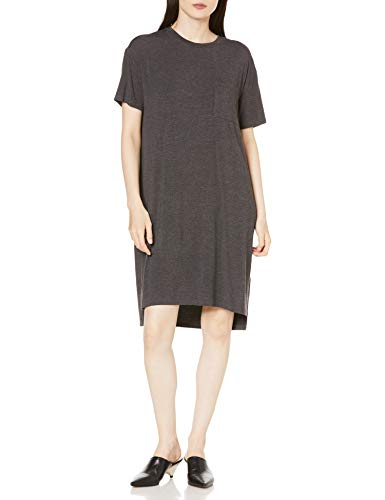 Daily Ritual Jersey Short-Sleeve Boxy Pocket T-Shirt dresses, Charcoal Heather, L