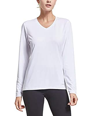 BALEAF Women's V Neck Long Sleeve Cool Lounge T-Shirt Active Running Hiking Sports Tops Dry Fit White L