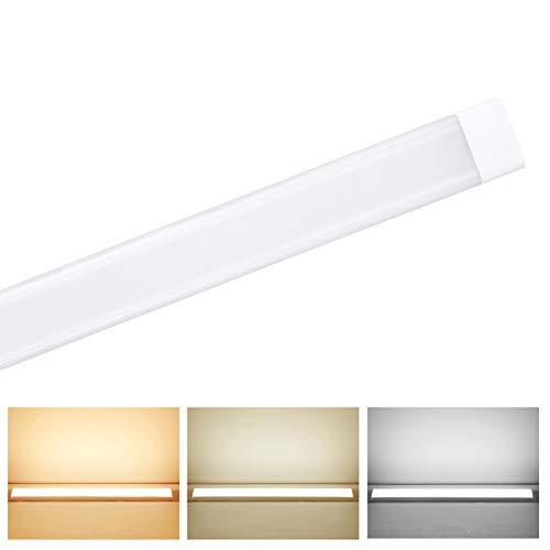 Luminaria Pantalla Lampara Led 90cm 48W,3 Colores Regulables Tubo Fluorescente 130°Haz De Gran Angular Luminaria Lámpara De Techo Para Armarios, Cocina, Oficina, Balcón, Cuarto (Tubo cuadrado)