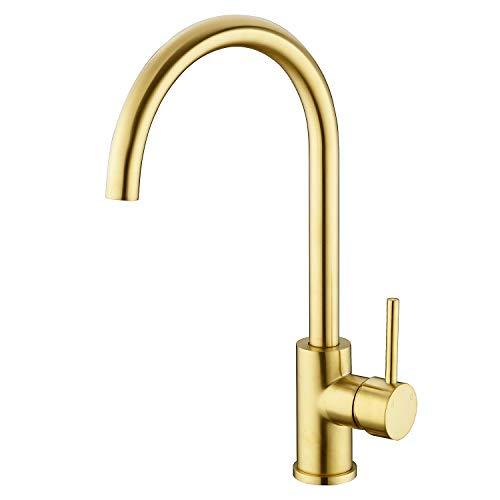 Solid Brass Kitchen Faucet Single Handle 1 Hole 360-Degree Swivel Gooseneck Bar Sink Mixer Tap, Brushed Gold