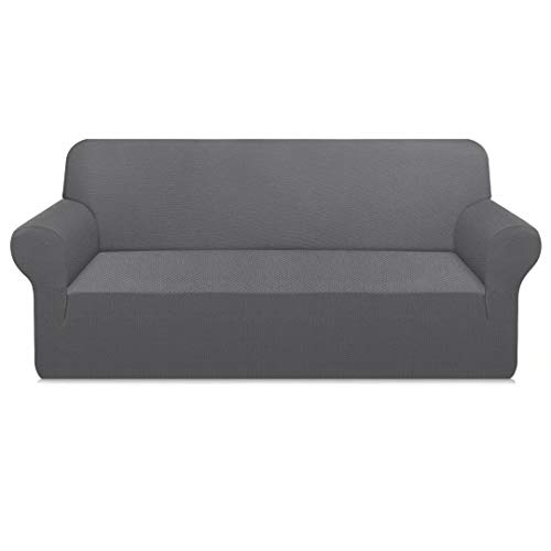 Carltina Thickened Stylish Sofa Covers for 3 Cushion Couch Pet Hair Proof Couch Cover High Stretch Sofa Slipcover for Dogs Cats Non Slip Furniture Protector (Large, Light Gray)