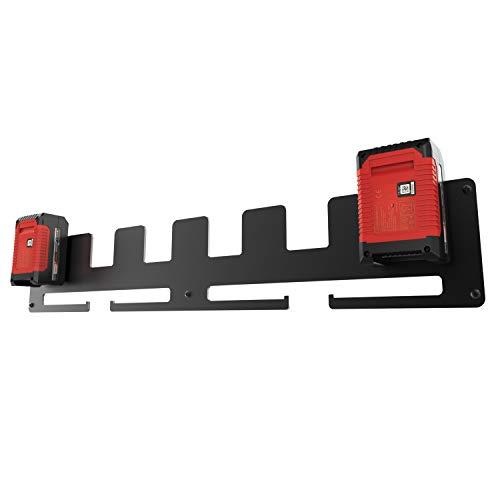 LICHTENWERK® Premium 6er Wandhalter für Einhell Akkus aus massivem Stahl [MADE IN GERMANY] - Stabiler Einhell Akkuhalter für Ordnung in der Werkstatt und Auto inkl. Befestigungs-Set - Profi Halterung