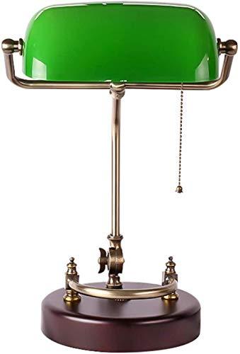 Lámpara de banquero antigua Lámpara de escritorio retro Pantalla de vidrio verde hecha a mano Lámpara de mesa de metal ajustable Lámpara de biblioteca vintage Base de madera E27