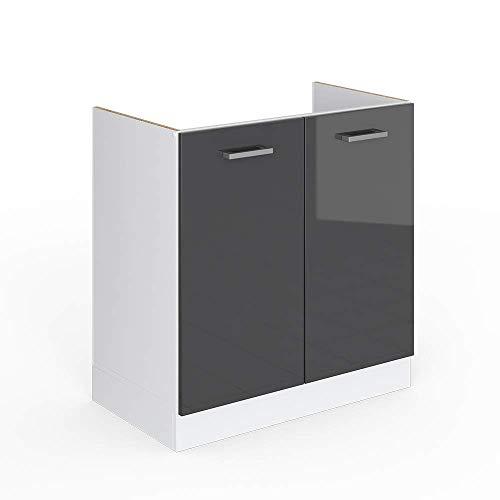 Vicco Küchenschrank R-Line Küchenzeile Hängeschrank Unterschrank Küchenschränke Küchenunterschrank Arbeitsplatte (anthrazit ohne Arbeitsplatte, Spülenunterschrank 80 cm)