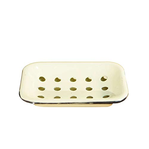 Cream Enamel Soap Dish with Removable Drip Tray and Drainage Holees Vintage Inspired Soap Holder