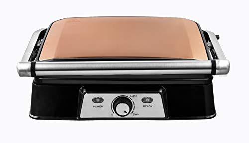 Venga! VG COG 3050 Panini Maker/sandwichmaker - 2000 W, roestvrij staal, kunststof, gegoten aluminium, koper