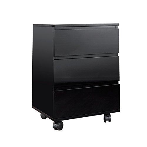 Invicta Interior - Moderner Big Deal Rollcontainer mit 3 Schubladen, schwarz glänzend