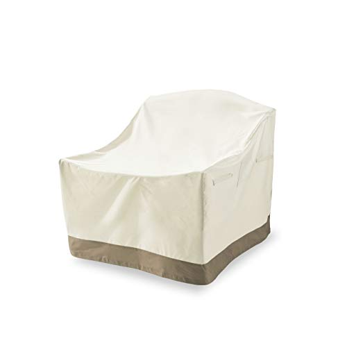 Lumaland Telo Copertura di Protezione per mobili da Giardino Impermeabile per sedie impilabili 119 (H) x 85 (L) x 65 (l) x 80 (H) cm Beige Oxford 600D 280 g/m²