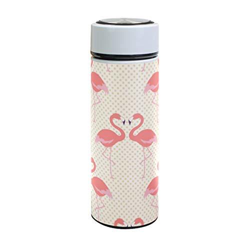 Emoya - Taza de viaje con diseño de flamenco y lunares, botella de agua de acero inoxidable, termo aislado al vacío para calor y frío