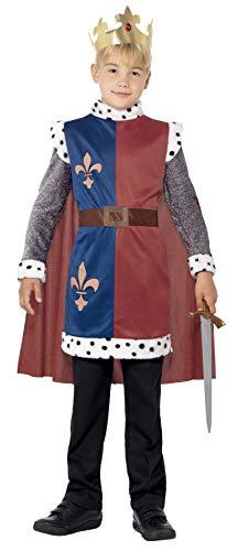 Smiffys-44079M Disfraz Medieval del Rey Arturo, con túnica, Capa y Corona, Color Rojo, M-Edad 7-9 años (Smiffy