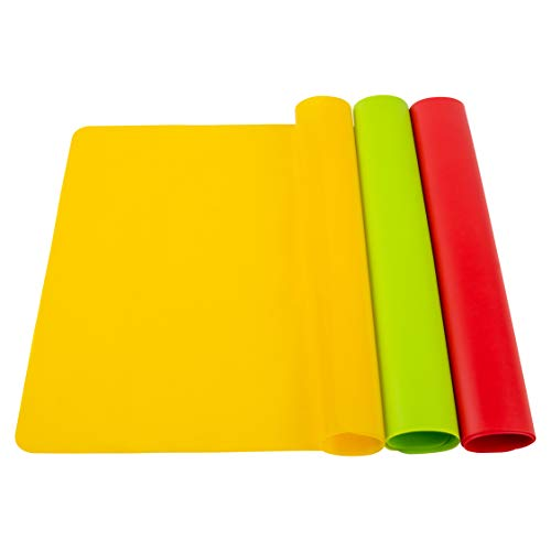 POPCO 3 Pack Reusable XL (16.5 x 11.7 inches) Heat Resistant Silicone Sheets for Crafts, Nonstick and Nonskid, Multipurpose Mats for Crafts, Jewelry Casting, Painting, Pastry and Baking