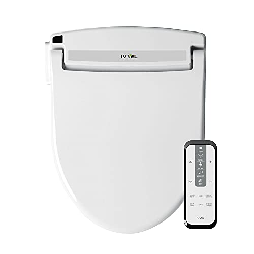[New model] Ivyel GL-3 REM Smart Electric Bidet for Toilet Seat with Remote,For Elongated Toilets,Stainless Steel Self Cleaning Nozzle,Heated bidet Toilet Seat with Warm Water,Air Dryer,Intensive Wash