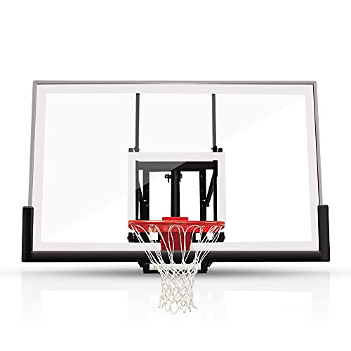 """katop 60"""" Wall Moundted Basketball Goal with a High-Performance Tempered Glass Backboard, Heavy Duty 18 Inch Basketball Rim and Net, Effortlessly Height Adjustable from 7.5 to 10 Ft"""