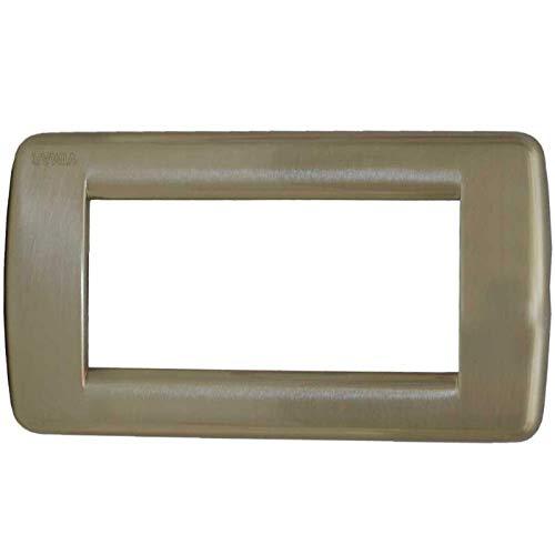 Vimar Serie Idea–Placca Rondo 4Modulo metallo nichel spazzolato
