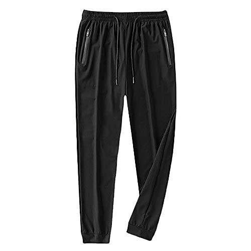 N\P Pantalones casuales de verano de los hombres de los deportes de hielo de seda delgada estiramiento