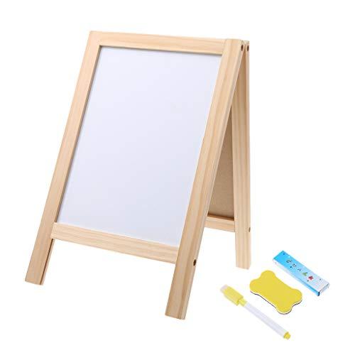 VIccoo Mini Houten Statief Blackboard Met Gummetje, Mini Houten Statief Blackboard Kleine Double Easel Bericht Board Whiteboard - 2