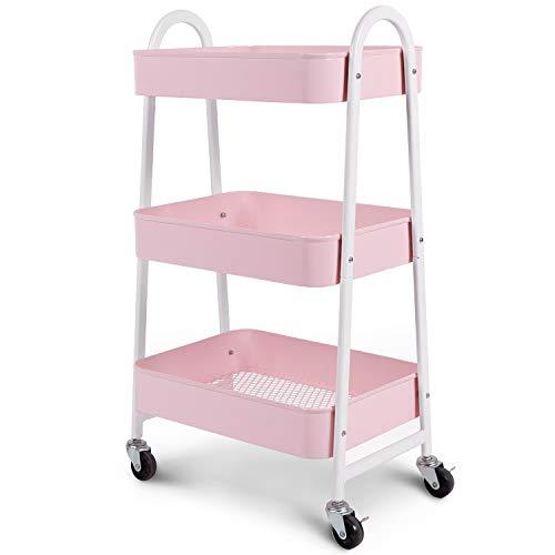 Kingrack - Carrello a 3 ripiani con ruote in metallo, per ufficio, cucina, camera da letto, bagno, colore: Rosa