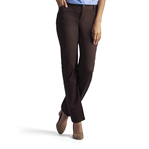 LEE Women's Petite Relaxed Fit All Day Straight Leg Pant, 6 Petite, roasted chestnut brown