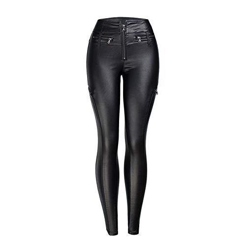 KRILY leren broek zwart mid-taille wet look strech broek met gouden rits maat UK 6-18