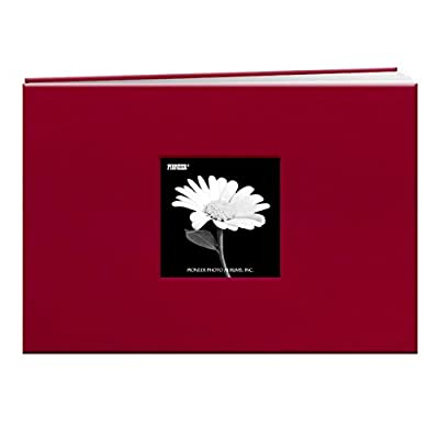 Pioneer 12-Inch by 12-Inch Book Cloth Cover Postbound Album with Window, Red
