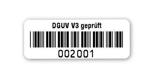 Prüfetiketten DGUV V3 geprüft, 40x15mm, hochglänzend weiß, fertig bedruckt mit 6-stelligem fortlaufendem Barcode 39 ohne Prüfziffer für alle gängigen Prüfgeräte. Nummernkreis 002 001.003 000