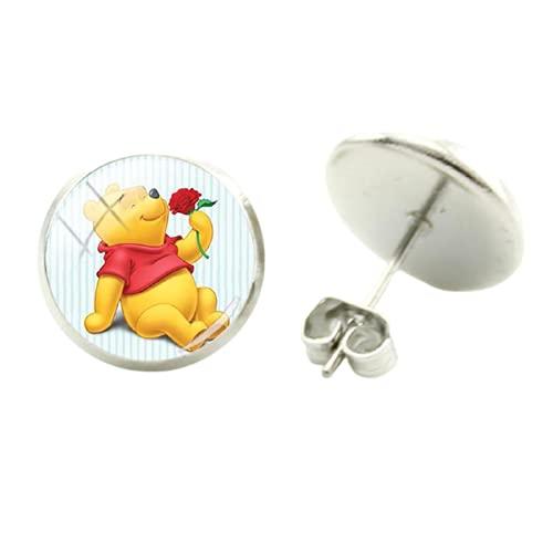 Pendientes de Pooh y Piglet con imagen y estilo sencillo, de cristal, cabujón, joyas de regalo para mujeres